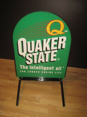 """Large 35 1/2"""" Original Quaker State Motor Oil Double Sided Metal Sign & Stand"""