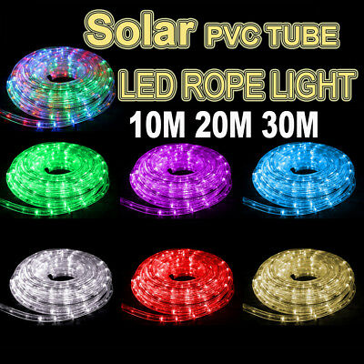 Solar 10M 20M 30M LED Rope Light PVC Hard Tube Party Christmas Lights Xmas 8Mode