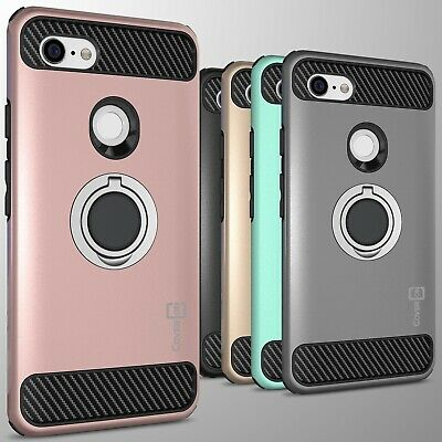 For Google Pixel 3 XL Hybrid Armor Protective Ring Phone Case w/ Grip Ring Stand