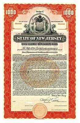 State of New Jersey, 1934 Specimen Bond