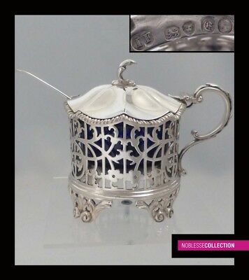 John Wilmin FIGG : ANTIQUE VICTORIAN  STERLING SILVER MUSTARD POT  London 1840
