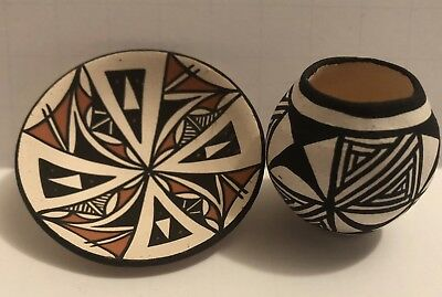 Two Vintage Miniature Acoma Pottery Signed A. Reano,  LV