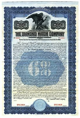 Diamond Match Co., 1910 Specimen Bond