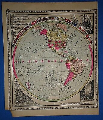 Vintage 1889 WESTERN HEMISPHERE of WORLD MAP Old Antique Original Tunison Atlas