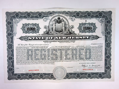 State of New Jersey, 1930 $10,000 Reg 1 3/4% Specimen Highway Improvement Bond
