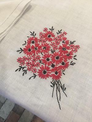 Beautiful Hand Embroidered Linen Luncheon Tablecloth with Set of 12 Napkins TS9