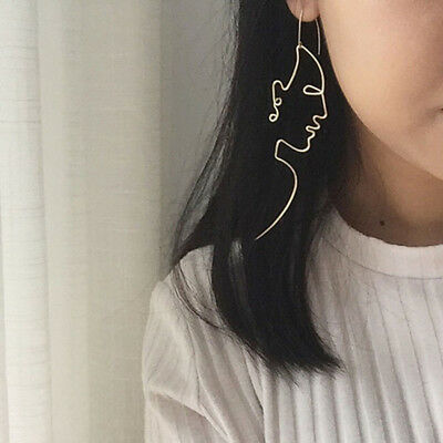 Unique Charm Gold Silver Filled Face Dangle Wire Earrings Girls Artsy Outline S