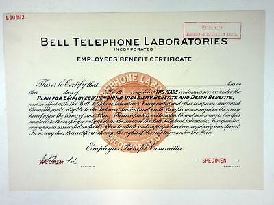 Bell Telephone Laboratories Inc., 1930 Employee's Benefit Specimen Cert.