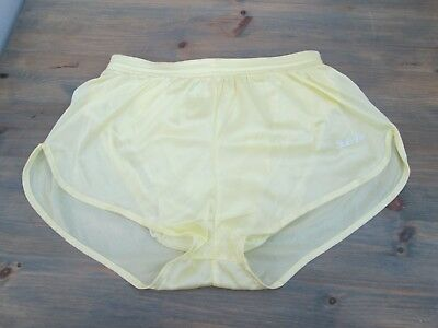 """Vintage pale yellow nylon running shorts by Sub4 size Medium,about 32"""""""