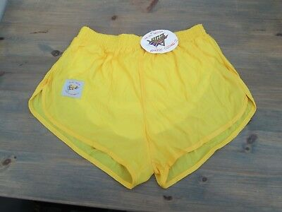 """Vintage yellow running shorts by Viga, 30/32"""", NEW with tags, UK Made."""