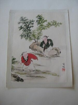 Fine Old Chinese Painting on Paper & Silk Children Playing Artist Signed!