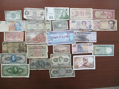 World Wide Paper Money Lot  of 25 pieces All Different Countries
