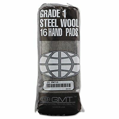 GMT Industrial-Quality Steel Wool Hand Pad 1 Medium 16/Pack 192/Carton