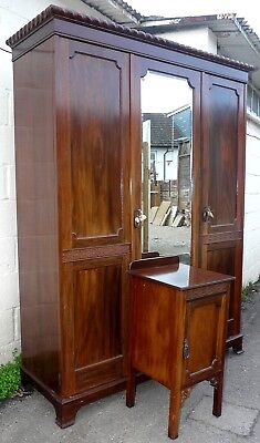 Edwardian Triple Wardrobe With Key and Matching Bedside Cabinet