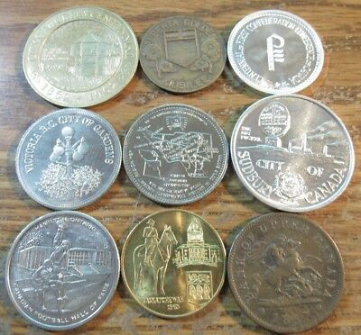 Lot of 9 Canadian Celebration Tokens - Canada