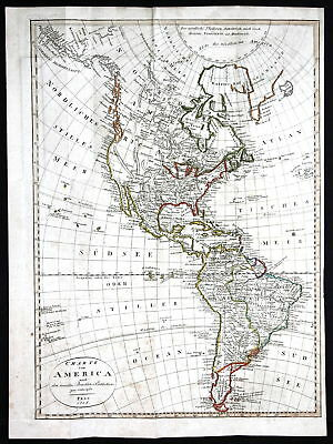 1818 America South North USA Canada Brasil Karte map Kupferstich antique print