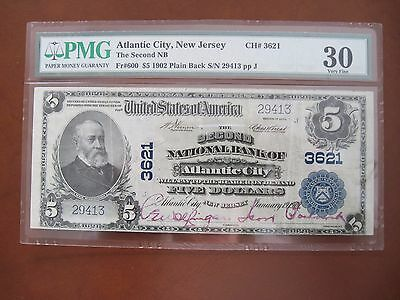 National Currency $5 Second National Bank of Atlantic City, NJ 1902 plain back