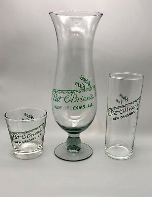 Pat O'Briens New Orleans Glass Set of 3 Different Sizes