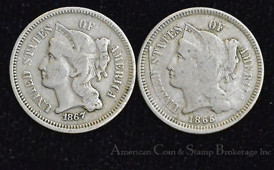 3c Three Cents 1865 1867 Copper-Nickel 3 Cent Nickel 2 Coin Lot popular type
