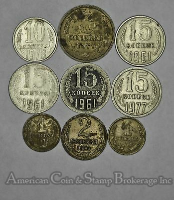 Russia 1961 1970 1972 1977 1978 Soviet USSR 9 Coin Lot Mix of Russian Coins