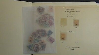 Armenia stamp collection on homemade pages w/ 225 stamps or so