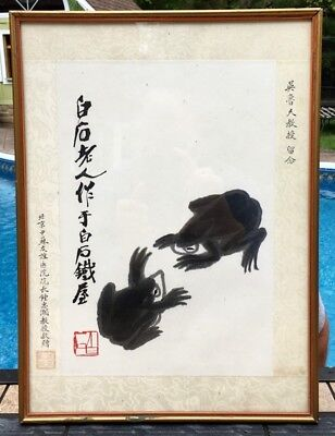 Ex.rare Chinese Qi Baishi Frogs Scroll Silk Painting Marked W History Provenance