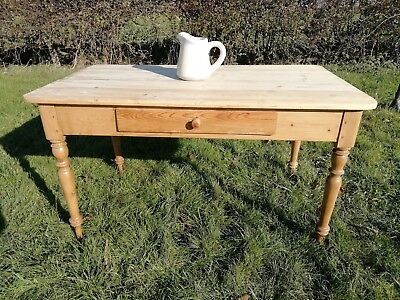 Antique pitch Pine Dining Table Country Farmhouse Vintage - scrubbed top