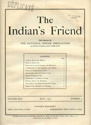 July 1932 The Indian's Friend Magazine Newspaper National Indian Association NYC