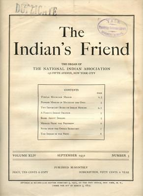 Sept 1932 The Indian's Friend Magazine Newspaper National Indian Association NYC