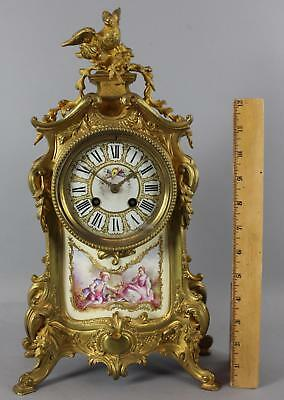 Antique 19thC Japy Freres Gilt Bronze Clock w/ French Porcelain Paintings NR