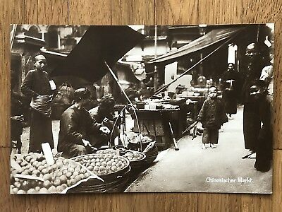 China Old Postcard Chinese Market Street People !!