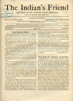 May 1933 The Indian's Friend Magazine Newspaper National Indian Association NYC