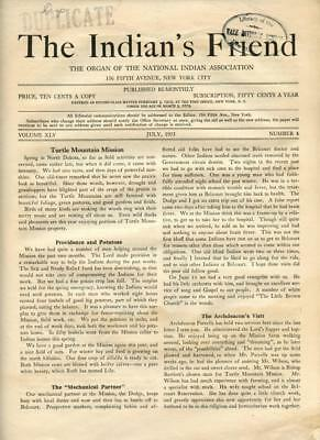 July 1933 The Indian's Friend Magazine Newspaper National Indian Association NYC