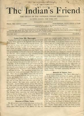 Nov. 1933 The Indian's Friend Magazine Newspaper National Indian Association NYC