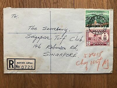 Straits Settlements Old Cover Malay Penang Registered Bayan Lepas To Singapore!!