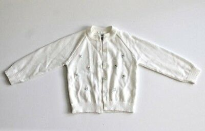 Vintage Mothercare Julious Bergerwhite Button Up Sweater w/ Embroidered Flowers