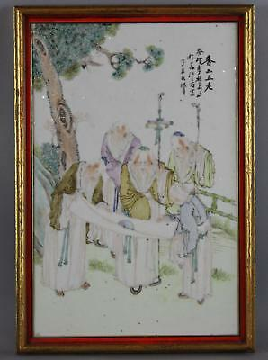 Antique 18/19thC Chinese Export Porcelain Signed Painting Plaque 5 Scholars