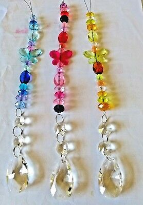 Handmade Butterfly Feng Shui Clear Prism Room Suncatcher Octogons  & Crystal Mix