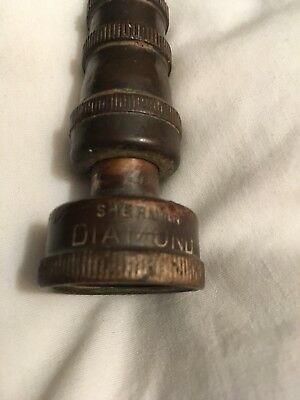 Vintage Solid Brass Garden Hose Nozzle End sprayer Sherman Diamond