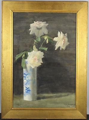 1907 Antique Victorian Roses Flower Chinese Vase Stillife Watercolor Painting NR
