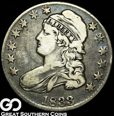 1833 Capped Bust Half Dollar, Early Date Silver Half