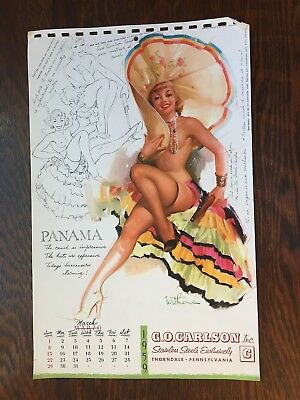 "WITHERS ""south of the rio grande""   PANAMA ""  mar 1959  PIN-UP   SKETCHBOOK page"