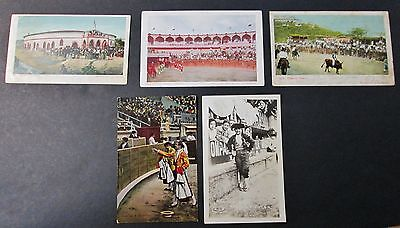 BULL FIGHTING in Mexico 5 Real Photo Postcards Circa 1905