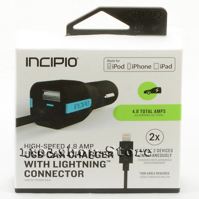 Incipio High Speed 4.8 AMP Auto Car Charger up to 2 Device w/USB Lightning Cable