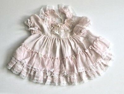 Vintage Pink Lace Baby Girl Dress with Ruffles, Puffed Sleeves, and White bows