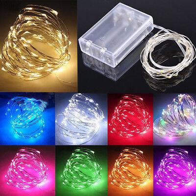 10m 100 LED Battery Micro Rice Wire Copper Fairy String Lights Party white/rgb