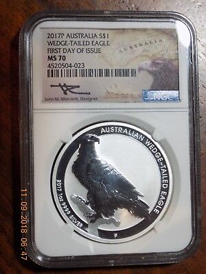 2017-P Australia Wedge-Tailed Eagle Silver $ - NGC MS70 - First Day - Mercanti