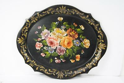 Vintage Decorative Large Oval Toleware Serving Tray Roses Flowers Floral Motif
