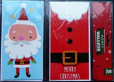Christmas Money Wallets / Cards Two Designs Pack of Five - Free P & P in UK