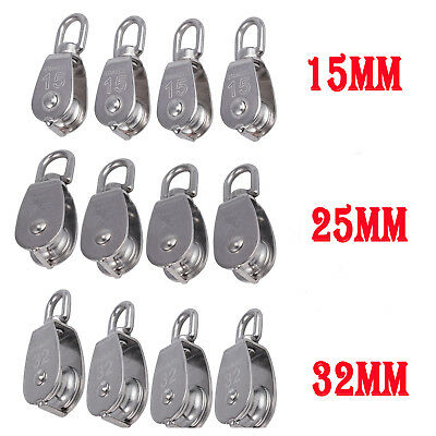 4X Stainless Steel Pulley Heavy Single Wheel Swivel Lifting Rope Pulley Block